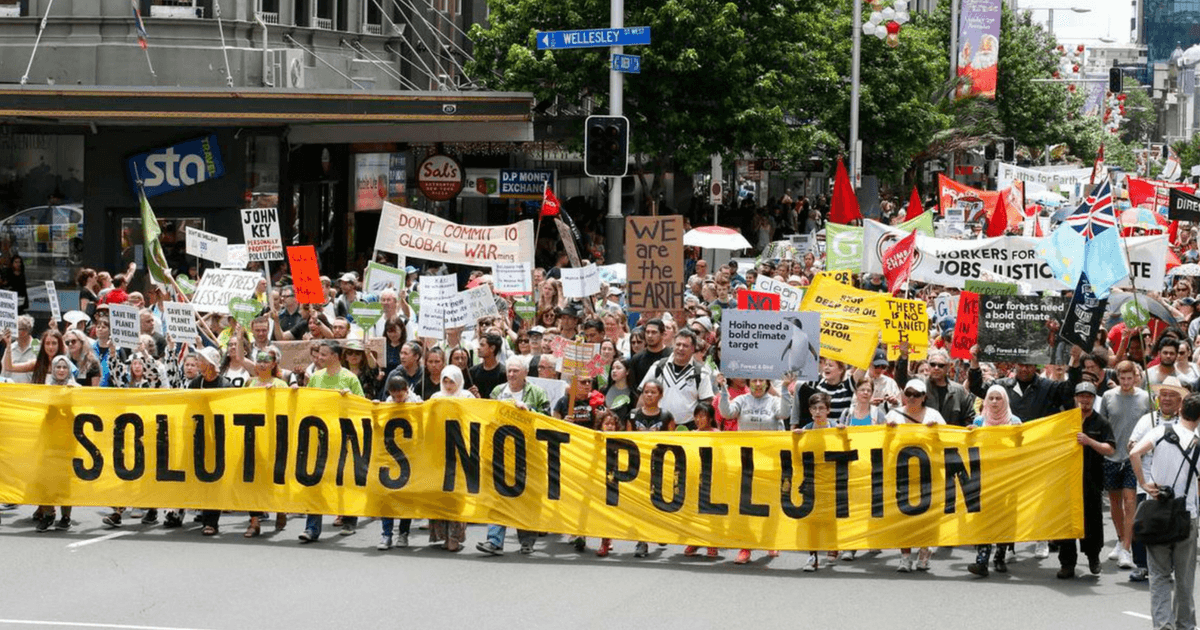 people protesting about polution