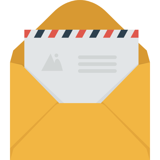 Icon of an envelope contaning a letter