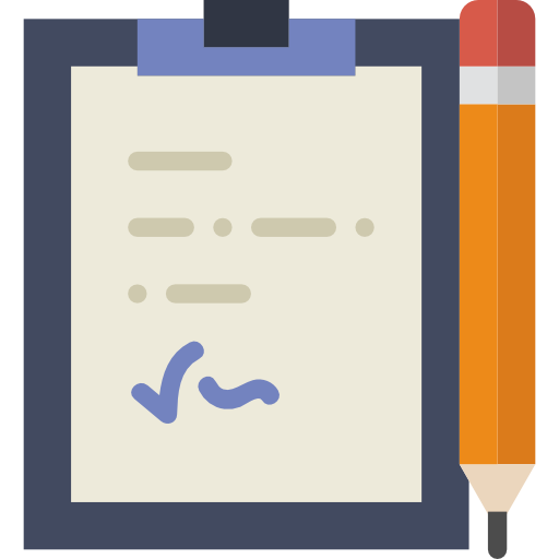 Icon of a clipboard with a signature