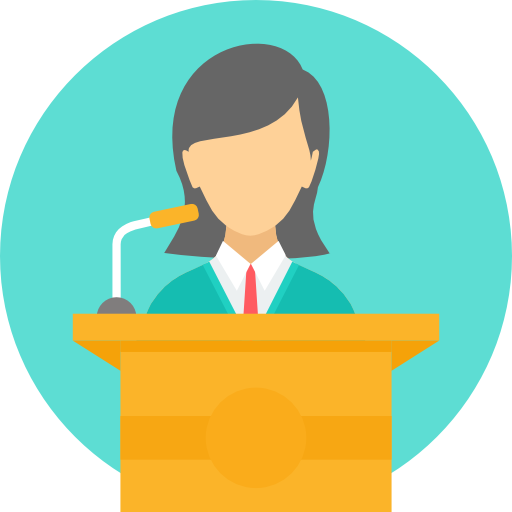 Icon of a person giving a presentation
